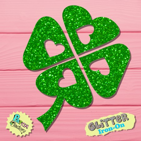 Glitzer bow picture clover leaf with heart small