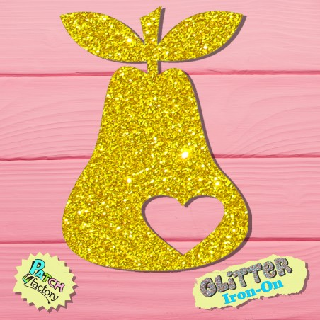 Glitter bow picture pear with heart small