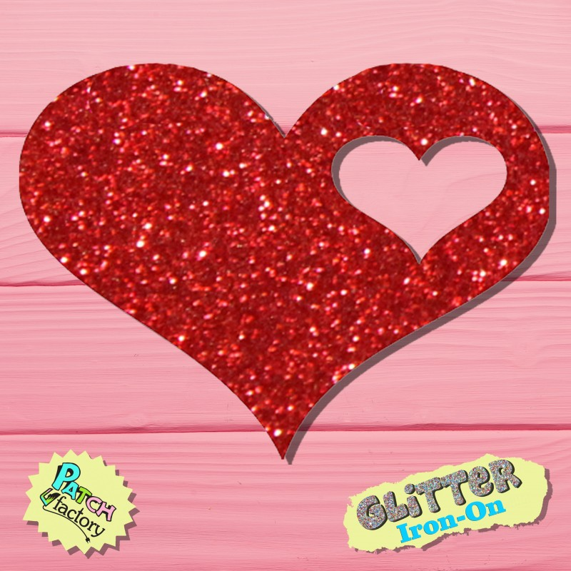 Glitter bow picture heart small