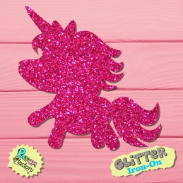 Glitter iron-on picture unicorn baby