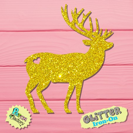 Glitter iron-on picture deer with antlers