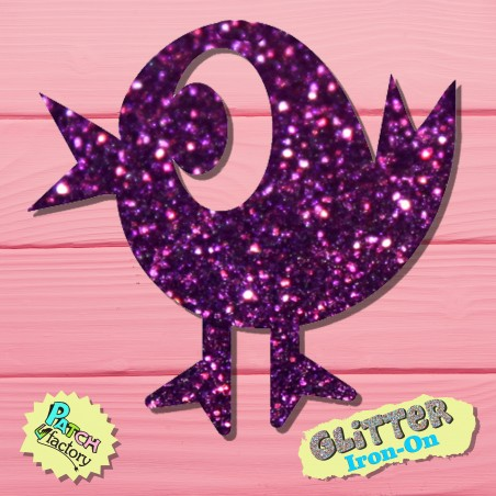 Glitter iron-on picture chick small