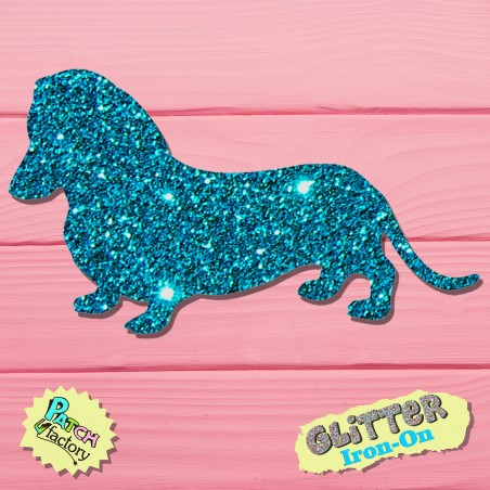 Glitter iron-on picture dachshund small