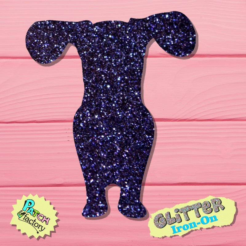 Glitter iron-on picture dog small