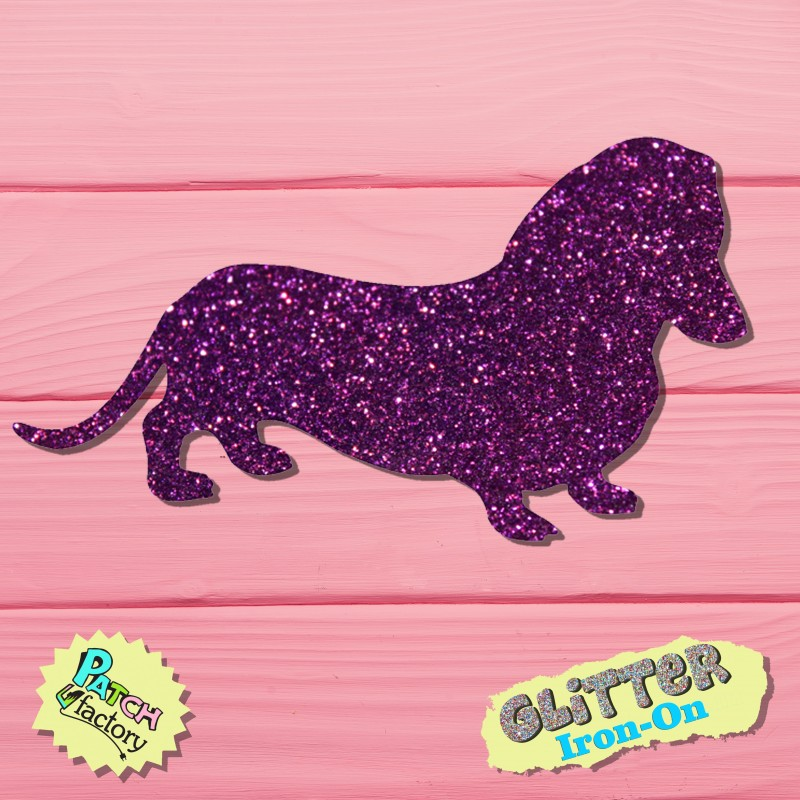 Glitter iron-on picture dachshund side view