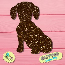 Glitter iron-on picture dog sitting
