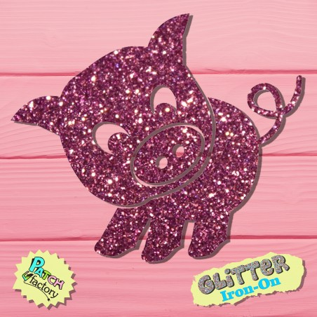 Glitter iron-on picture pig