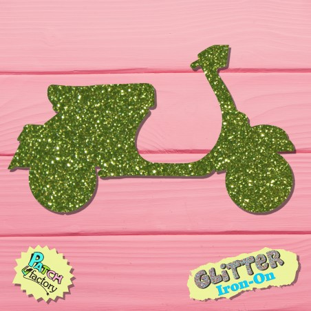 Glitter iron-on picture motor scooter