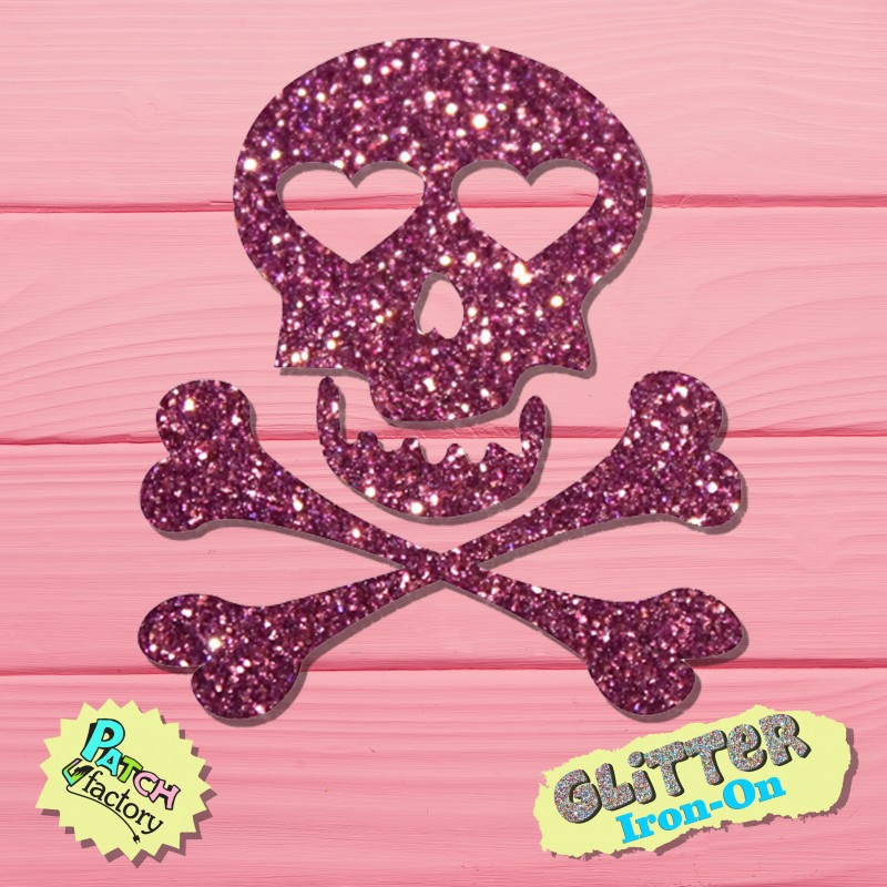 Glitter bow picture Totenkopf with heart