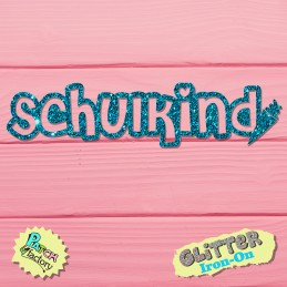 Glitter Bow Picture Schoolchild Font with Schultüte