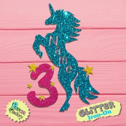Glitter bow unicorn with name, number and stars
