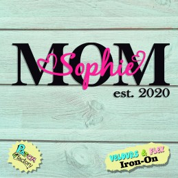 Iron-on picture MOM est. Year and desired name in velours flex
