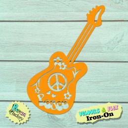 Iron-on patch hippy guitar