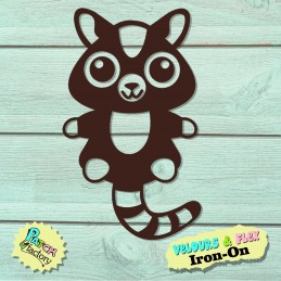 Small raccoon iron-on patch