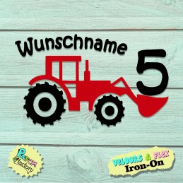 Birthday iron-on picture tractor with desired name and number in two colors