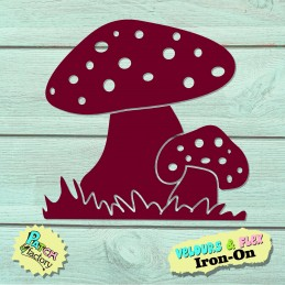 Iron-on picture toadstools in the grass