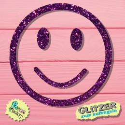Glitter iron-on picture smiley small
