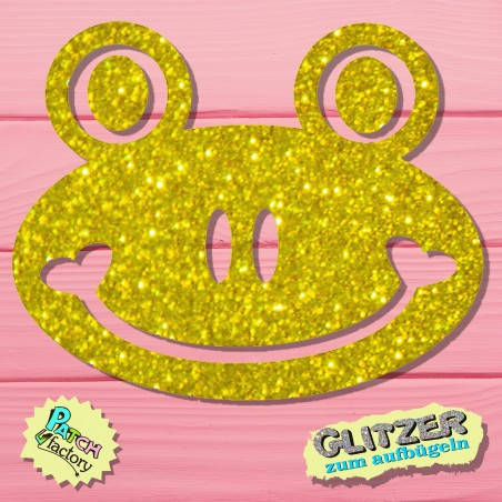Glitter iron-on picture frog small