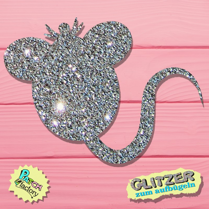 Glitter iron-on picture mouse small