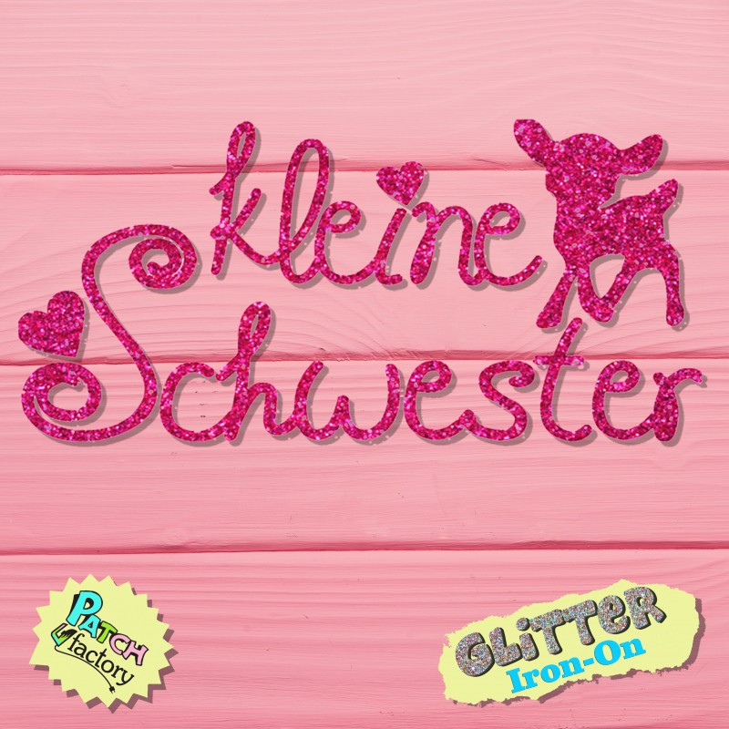 Glitter iron-on picture lettering little sister with deer