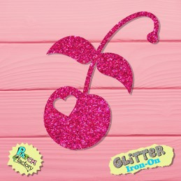 Glitter iron-on picture cherry with heart