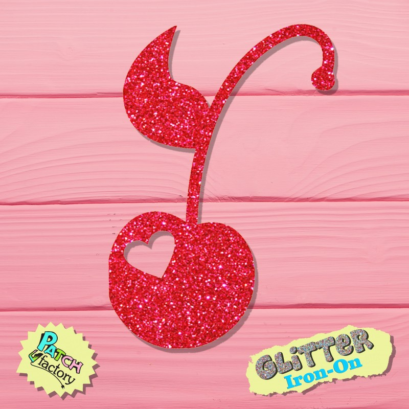 Glitter iron-on picture cherry small