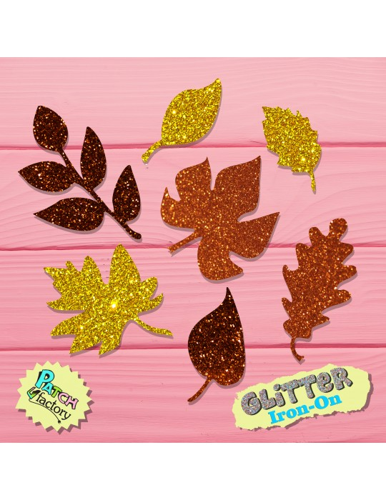 Glitter iron-on picture foliage leaves free color selection