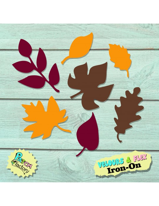 Iron-on picture leaves autumn leaves in velour or flex
