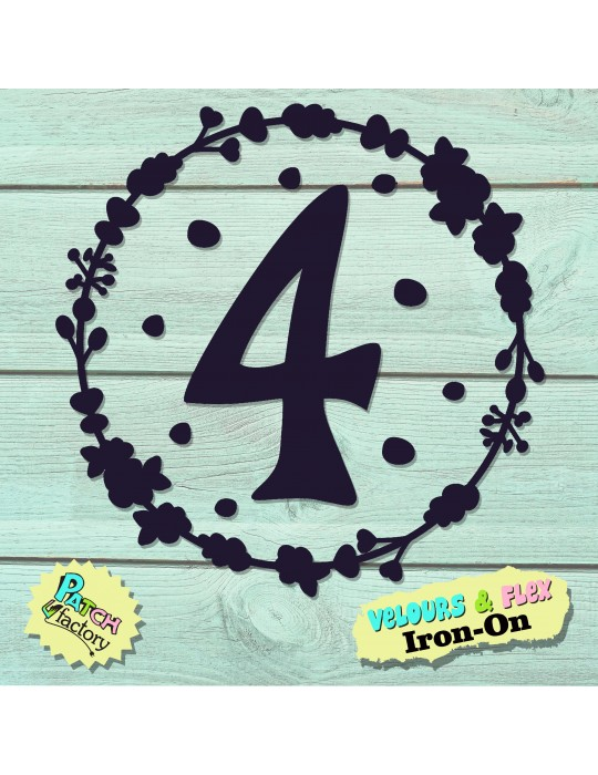 Iron-on picture number in flower wreath in velour or flex