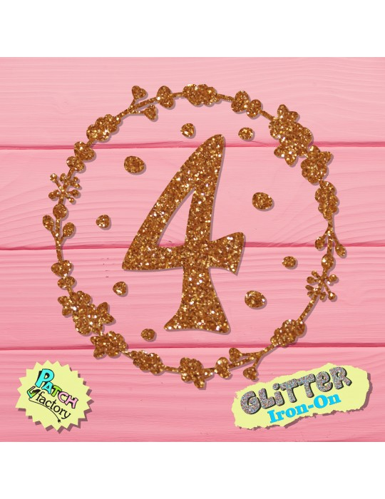 Glitter iron-on picture number with flower wreath