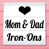 Glitter iron-on pictures for mother and father