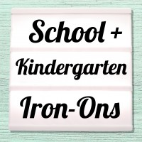 Iron-on pictures for first day of school, school children and kindergarten