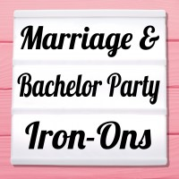 Glitter iron-on pictures for wedding and bachelor party