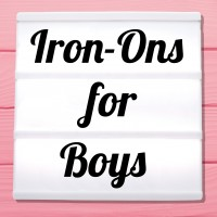 Glitter iron-on pictures for boys