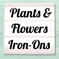 Iron-on pictures flowers, blossoms, shamrocks and plants
