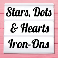 Glitter iron-on pictures stars, hearts and dots