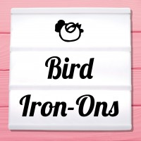 Glitter iron-on pictures birds, owls and flamingos