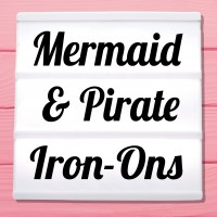 Glitter iron-on pictures pirates, mermaids and maritime