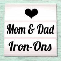 Velour iron-on pictures for parents, mother and father